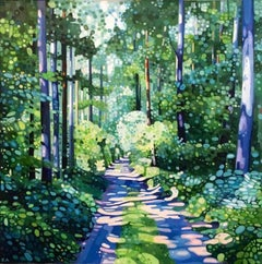 Emerald Whisper - Summer Trees and Sunlight, Figurative: Acrylic on Canvas