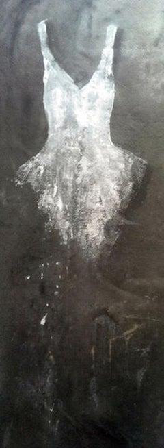 White Toscana Dress, 2014 Acrylic on fabric 96.4 x 31.5 in. 245 x 80 cm
