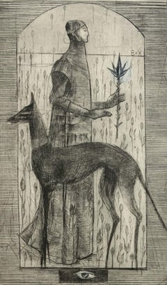 In a garden - Figurative mezzotint print, Limited edition, Black & white, Dog