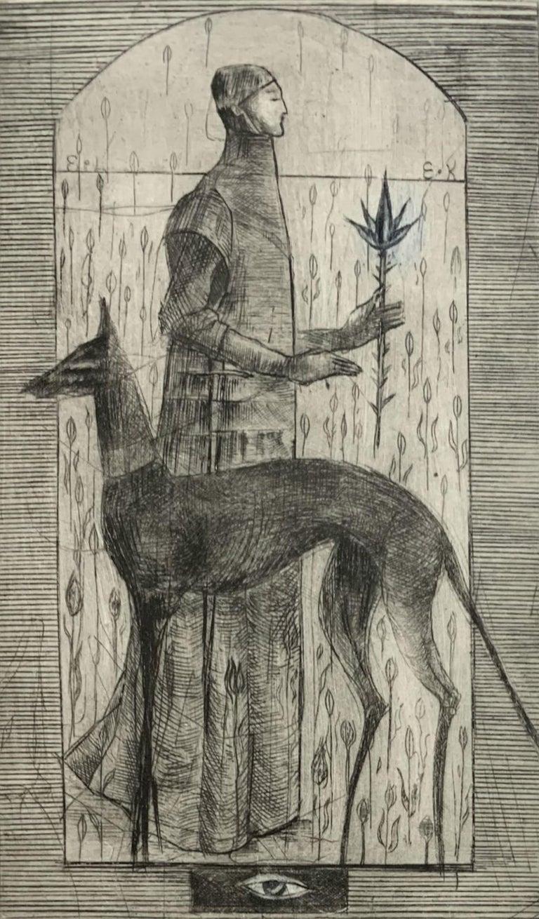 Ewa Kutylak Figurative Print - In a garden - Figurative mezzotint print, Limited edition, Black & white, Dog