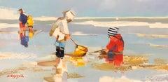 A la Pêche Rayé Bleu et Blanc by Ewa Rzeznik, Horizontal Beach Oil Painting