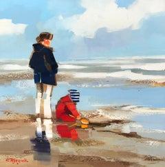 Belle Maman à la Plage by Ewa Rzeznik, Small Impressionist Beach Oil Painting