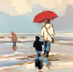 Cherchant les Moules Dans la Pluie by Ewa Rzeznik, Square Oil on Canvas Painting