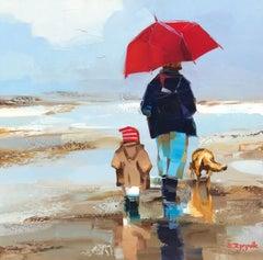 Le Parapluie et le Chien by Ewa Rzeznik, Small Figurative Beach Oil Painting