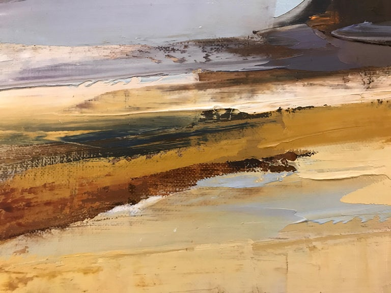 Sea Watch by Ewa Rzeznik, Oil on Linen Impressionist Beach Oil on Linen Painting For Sale 3
