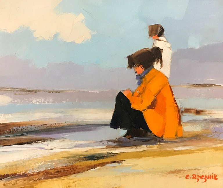 'Sea Watch' is a small size Impressionist beach painting of rectangular format created by Polish-born artist Ewa Rzeznik in 2018. Featuring an exquisite scene set on a French beach, the painting depicts two women, looking in the distance, one of