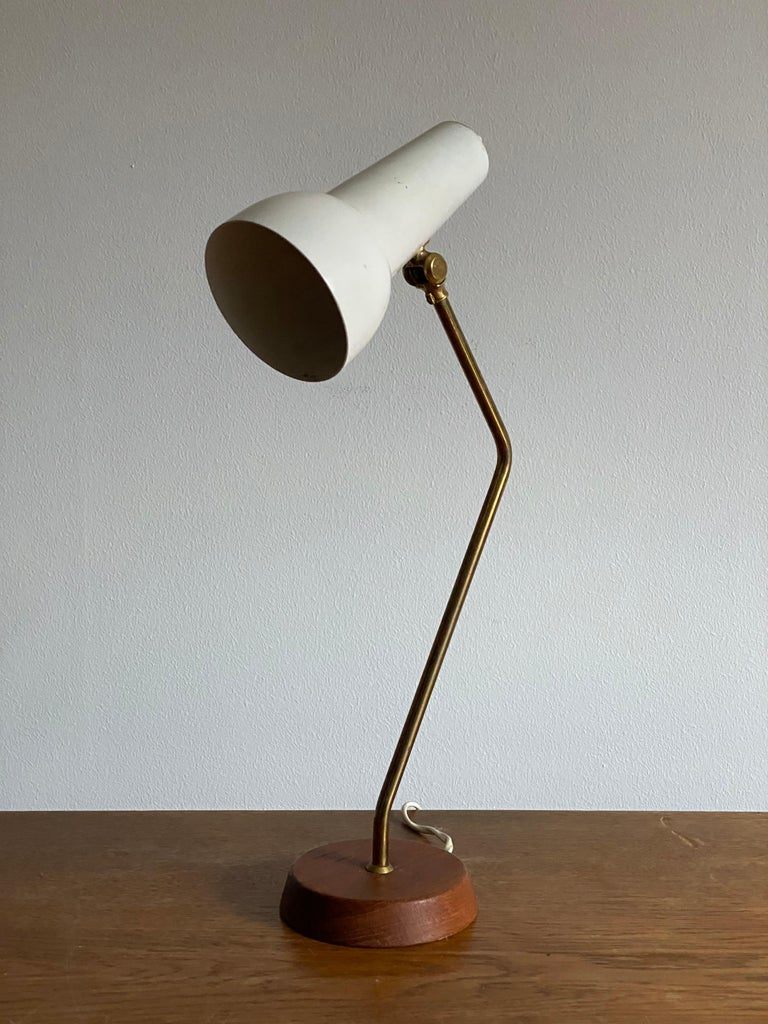 A highly modernist table lamp / desk light. Produced by Ewå Värnamo, Sweden, 1960s. Blue leather to the underside of the base impressed with makers mark. In all original condition.   Other designers of the period include Hans-Agne Jacobsen, Paavo