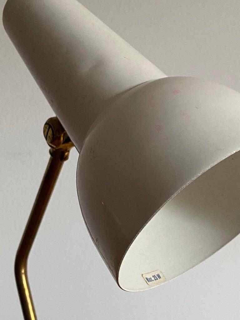 Ewå Värnamo, Desk Light / Table Lamp, Teak, Brass, Lacquered Steel, Sweden 1960s In Good Condition For Sale In West Palm Beach, FL