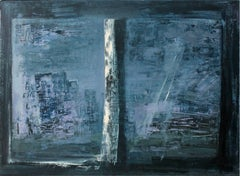 Window - XX Century, Abstract Oil Painting, Blue Shades, Textured