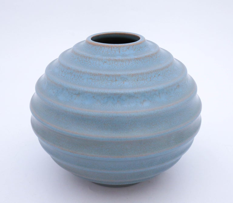 Swedish Ewald Dahlskog, Art Deco Globose Vase, Bo Fajans, Sweden, 1930s For Sale