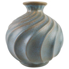 Ewald Dahlskog for Bo Fajans, Large Swedish Ceramic Vase Turkos