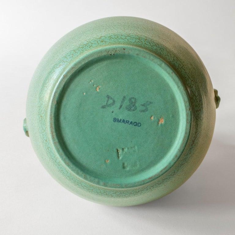 20th Century Ewald Dahlskog for Bo Fajans, Swedish Speckled Green Glaze Vase with Handles For Sale