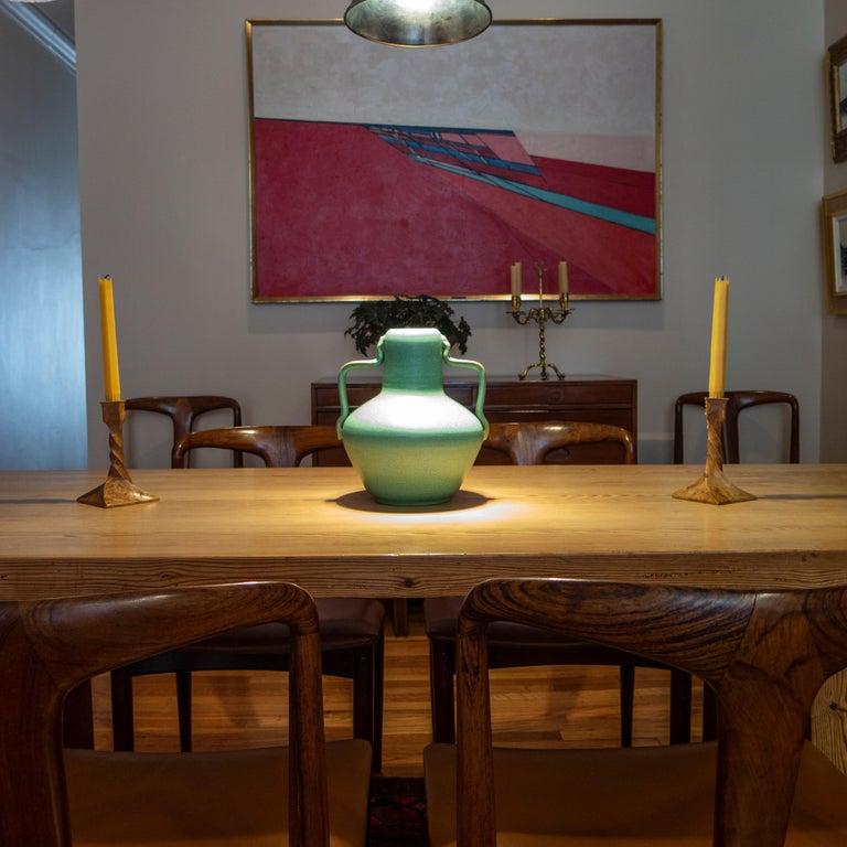 Faience Ewald Dahlskog for Bo Fajans, Swedish Speckled Green Glaze Vase with Handles For Sale