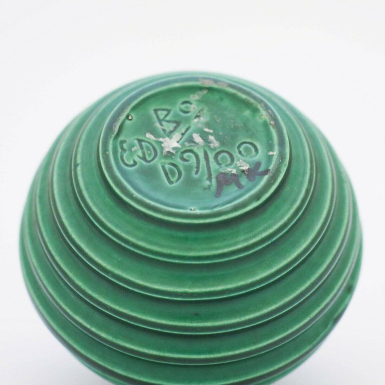 Swedish Ewald Dahlskog, Green Art Deco Globose Vase, Bo Fajans, Sweden, 1930s For Sale