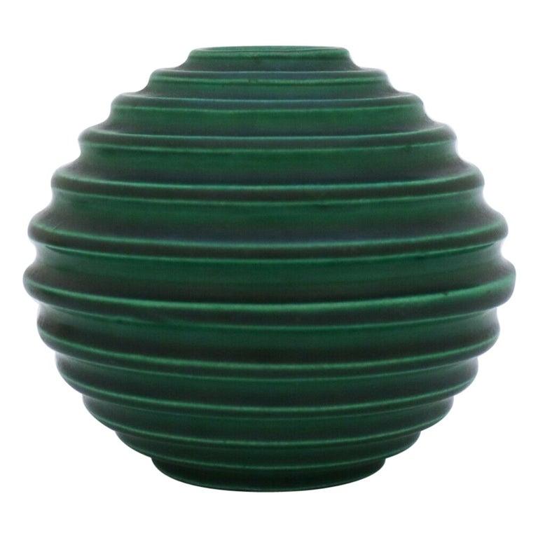 Ewald Dahlskog, Green Art Deco Globose Vase, Bo Fajans, Sweden, 1930s For Sale