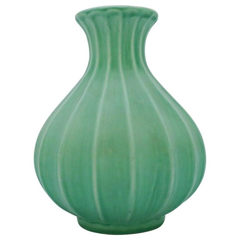 Ewald Dahlskog, Green Vase, Bo Fajans, Sweden, 1930s