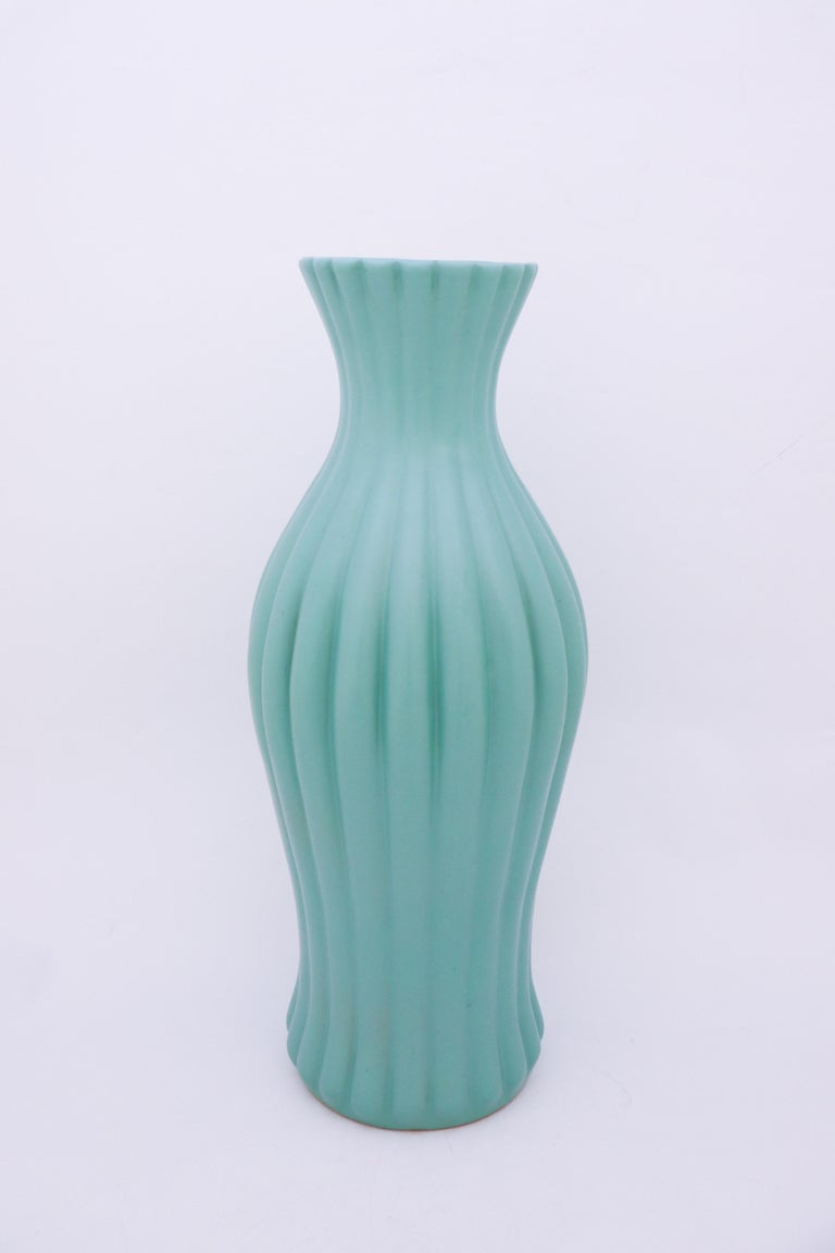 A large turquoise floor vase designed by Ewald Dahlskog at Bo Fajans in Gefle in the 1930s. The vase is 52 cm high.