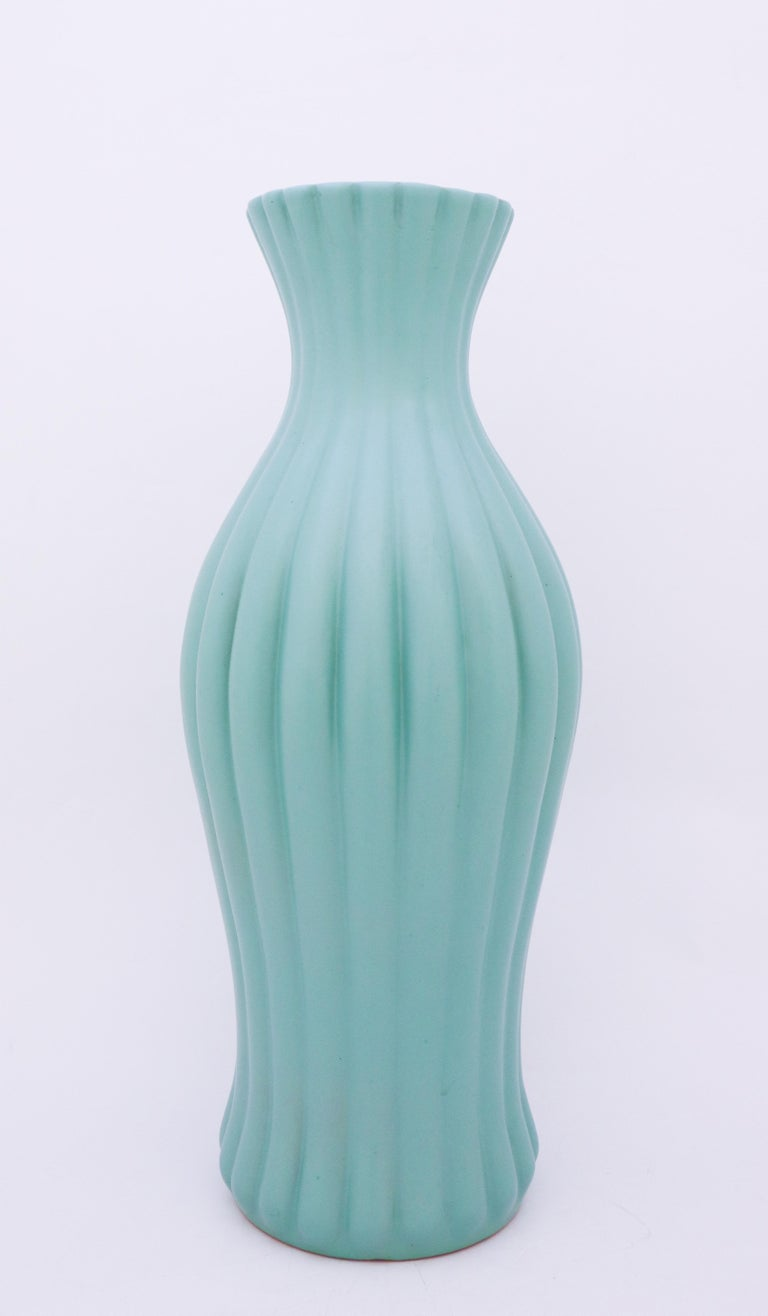 Swedish Ewald Dahlskog, Large Turquoise Floor Vase, Bo Fajans, Sweden, 1930s For Sale