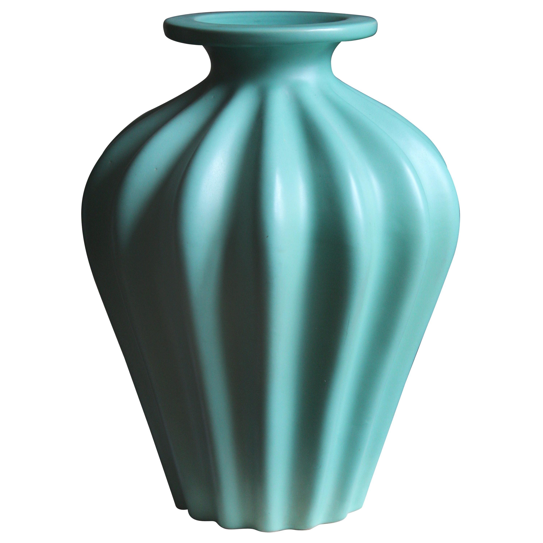 Ewald Dahlskog, Large Vase, Green-Glazed Stoneware, Bo Fajans, Sweden, 1930s