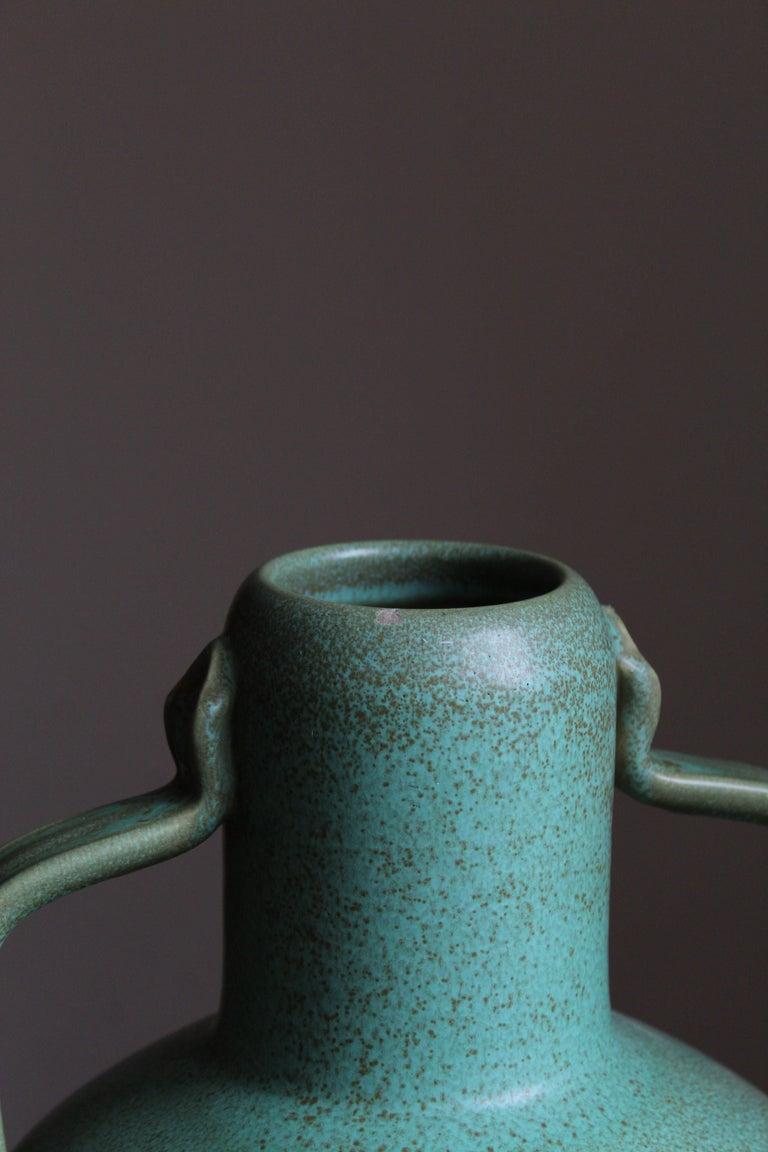 Swedish Ewald Dahlskog, Sizable Vase, Green-Glazed Stoneware, Bo Fajans, Sweden, 1930s For Sale
