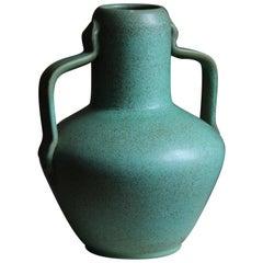 Ewald Dahlskog, Sizable Vase, Green-Glazed Stoneware, Bo Fajans, Sweden, 1930s