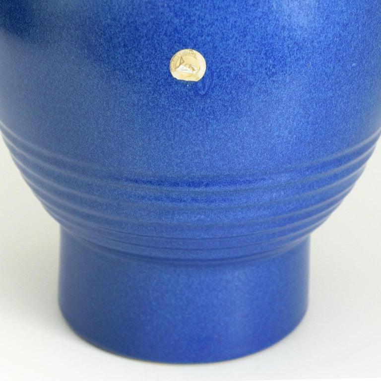 20th Century Ewald Dahlskog Tall Blue Scandinavian Modern Vase for Bo Fajans For Sale