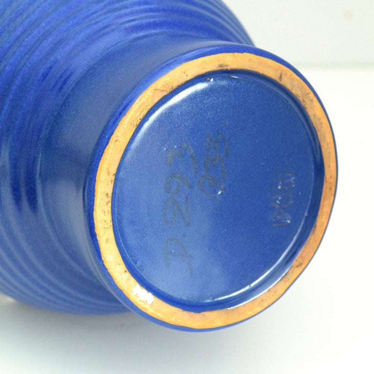Ceramic Ewald Dahlskog Tall Blue Scandinavian Modern Vase for Bo Fajans For Sale