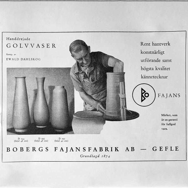 Ewald Dahlskog Tall Blue Scandinavian Modern Vase for Bo Fajans For Sale 1