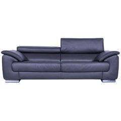 Ewald Schillig Brand Blues Designer Sofa Anthracite Dark Grey Leather Couch