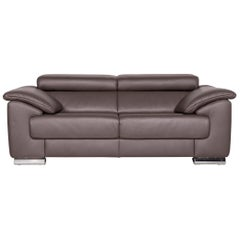 Ewald Schillig Brand Blues Leather Sofa Brown Three-Seat