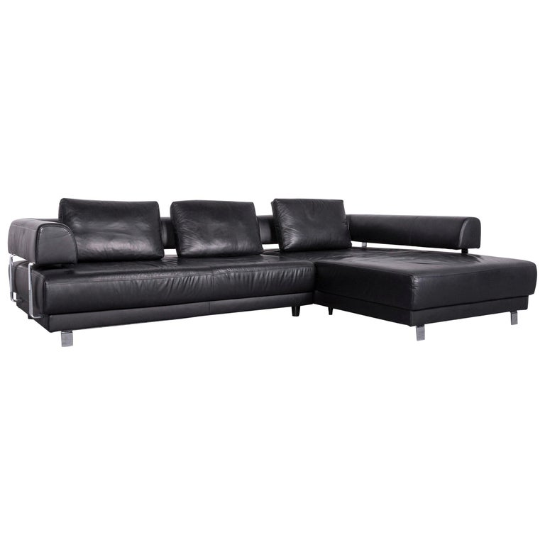 Ewald Schillig Brand Face Designer Sofa Leather Black Corner Couch ...