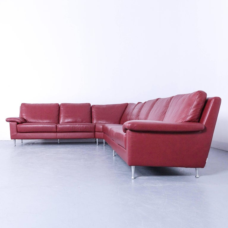 Ewald Schillig Designer Corner Sofa Set With Footrest Red