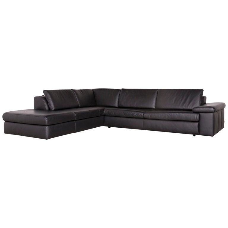 Ewald Schillig Designer Leather Corner Sofa Black Genuine Leather Sofa Couch