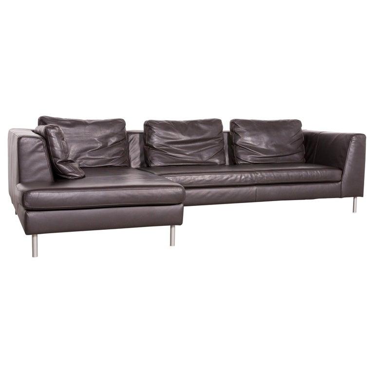 Ewald Schillig Designer Leather Corner Sofa Brown Genuine Leather Sofa Couch