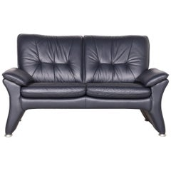 Ewald Schillig Designer Leather Sofa Blue Genuine Leather Two-Seat Couch