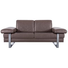 Ewald Schillig Designer Leather Sofa Brown Two-Seat