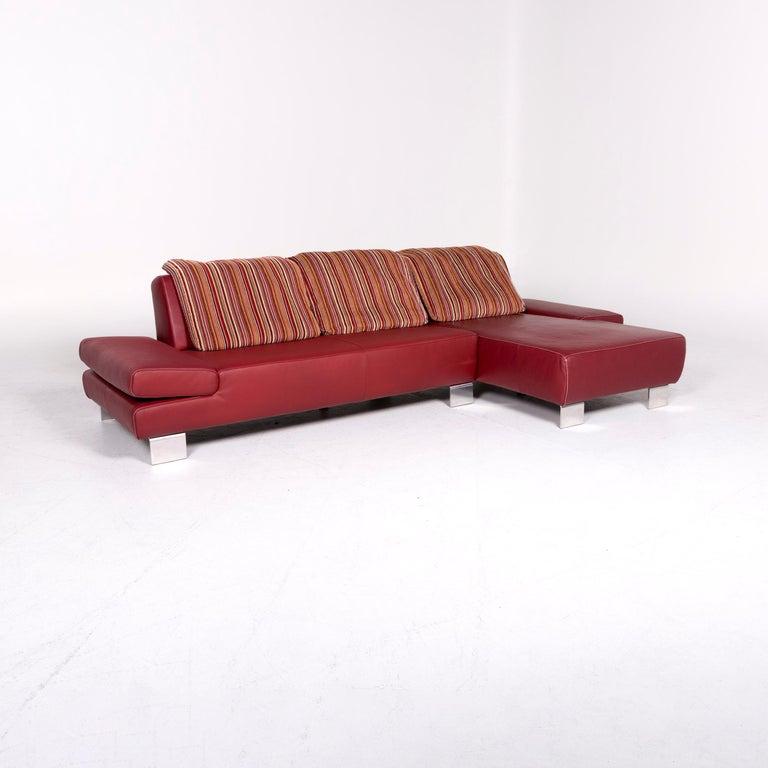 Ewald Schillig Designer Leather Sofa Corner Sofa Red Three-Seat Couch