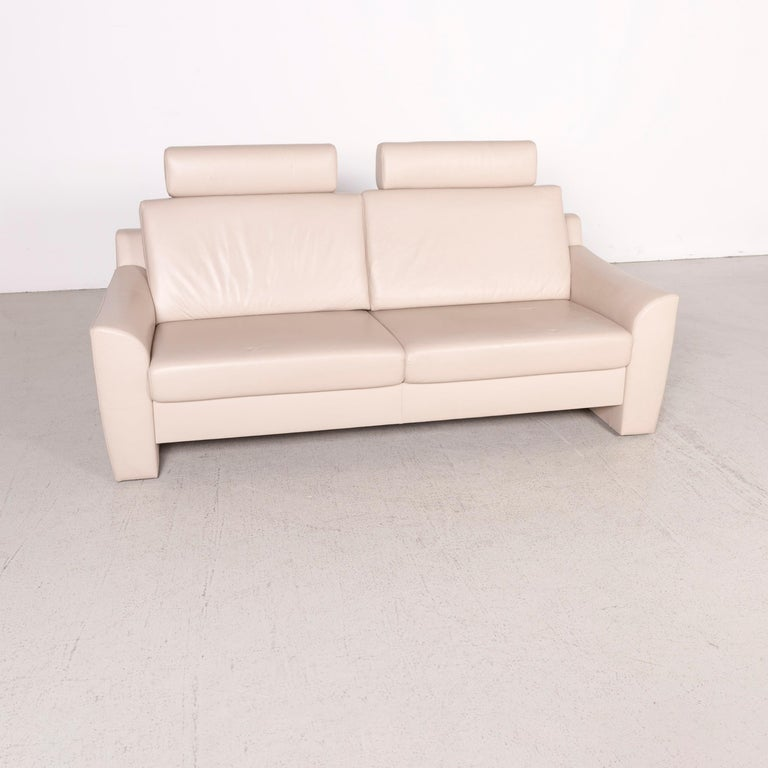 Ewald Schillig Designer Leather Sofa Cream Two-Seat Real Leather