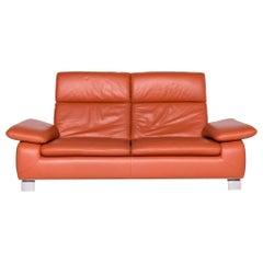 Ewald Schillig Designer Leather Sofa Orange Three-Seat Couch