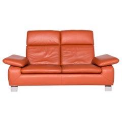 Ewald Schillig Designer Leather Sofa Orange Two-Seat Couch