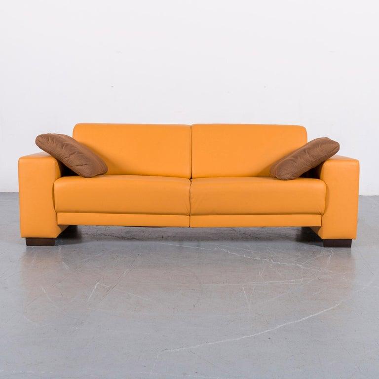 Ewald Schillig Designer Leather Sofa Set Orange Three-Seat ...
