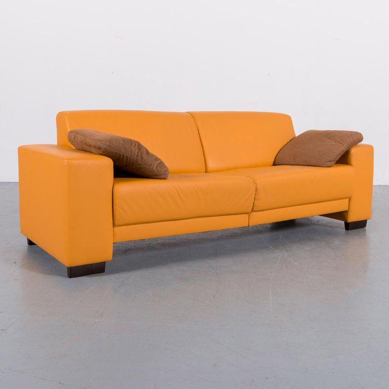 Ewald Schillig Designer Leather Sofa Set Orange Three-Seat Couch ...