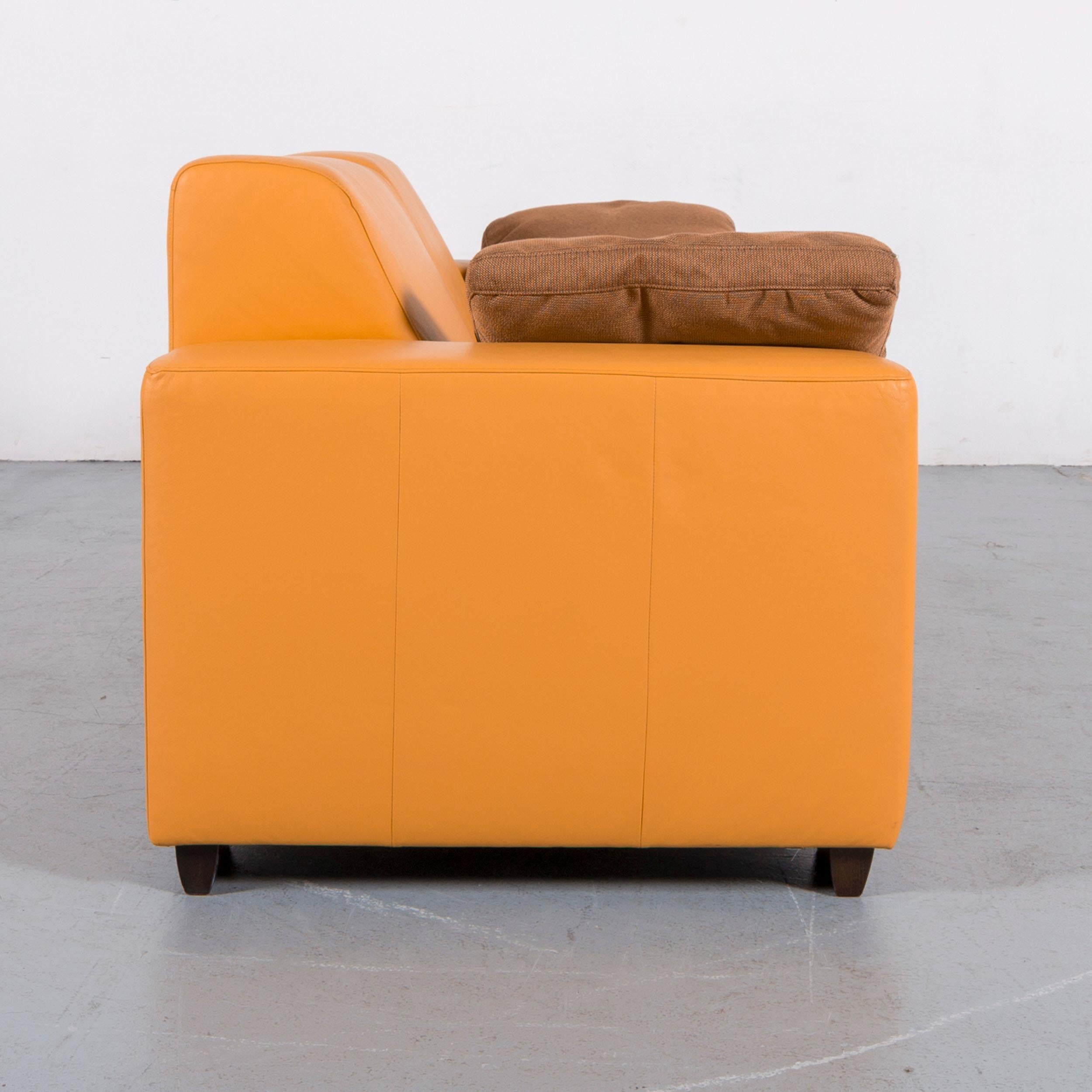Amazing Ewald Schillig Designer Leather Sofa Set Orange Three Seat Machost Co Dining Chair Design Ideas Machostcouk
