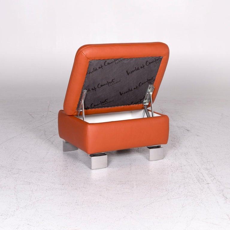 Ewald Schillig Designer Leather Stool Orange Function Storage Space For Sale 4