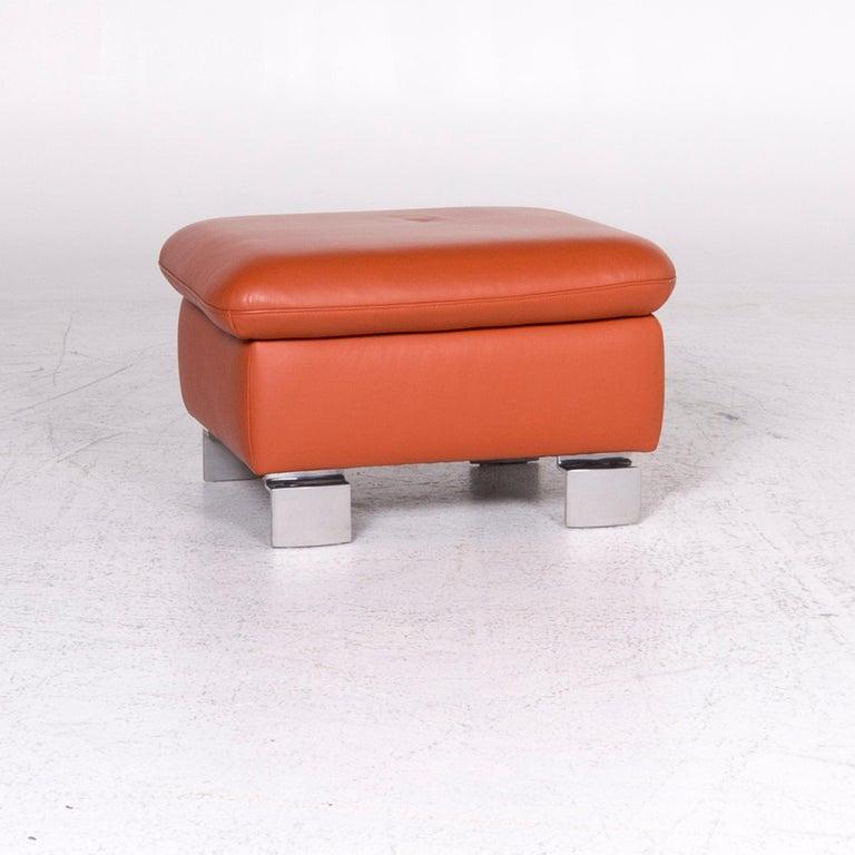 Modern Ewald Schillig Designer Leather Stool Orange Function Storage Space For Sale