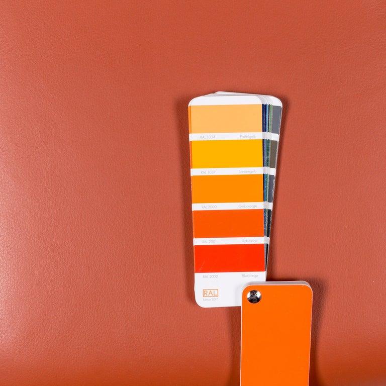 German Ewald Schillig Designer Leather Stool Orange Function Storage Space For Sale