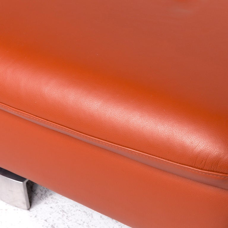 Ewald Schillig Designer Leather Stool Orange Function Storage Space In Excellent Condition For Sale In Cologne, DE