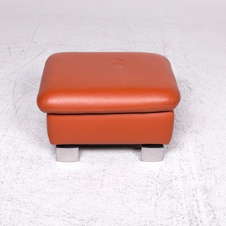 Contemporary Ewald Schillig Designer Leather Stool Orange Function Storage Space For Sale