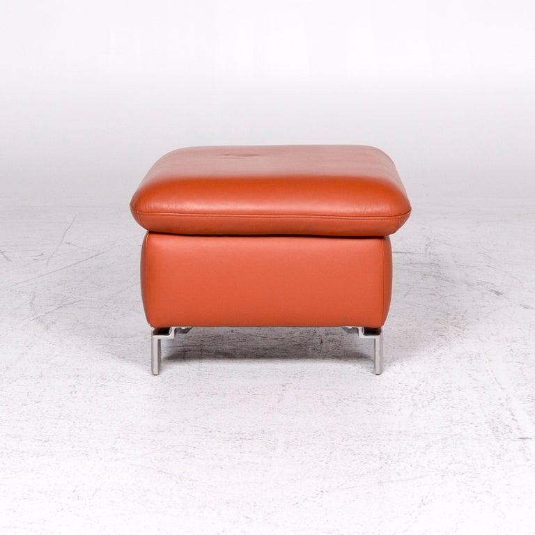 Ewald Schillig Designer Leather Stool Orange Function Storage Space For Sale 1