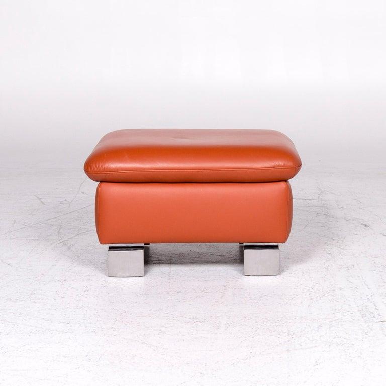 Ewald Schillig Designer Leather Stool Orange Function Storage Space For Sale 2